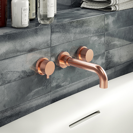 Arezzo Round Rose Gold Wall Mounted (3TH) Bath Filler Tap