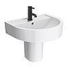 Arezzo 420 Wall Hung Basin 1TH + Semi Pedestal profile small image view 1