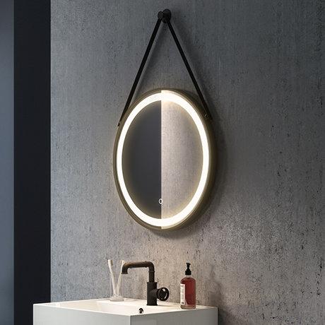 Arezzo Matt Black 600mm Round Led Illuminated Anti Fog Bathroom Mirror Victorian Plumbing Uk