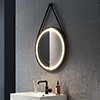 Arezzo Matt Black 600mm Round LED Illuminated Anti-Fog Bathroom Mirror profile small image view 1