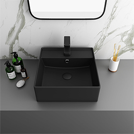 Arezzo 405mm Matt Black Square Wall Mounted / Counter Top Basin