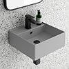 Arezzo 405mm Matt Grey Square Wall Mounted / Counter Top Basin profile small image view 1