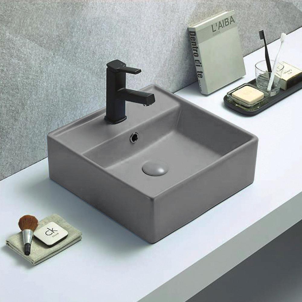 Arezzo 405mm Matt Grey Square Wall Mounted / Counter Top Basin