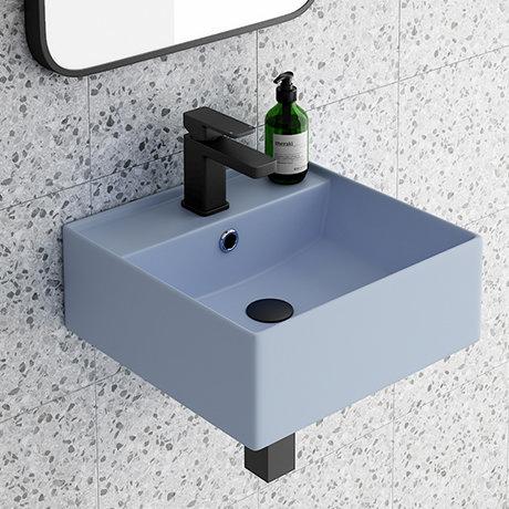 Arezzo 405mm Matt Blue Square Wall Mounted / Counter Top Basin