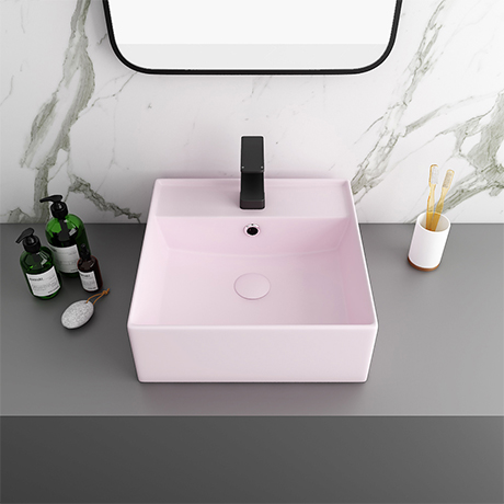 Arezzo 405mm Matt Pink Square Wall Mounted / Counter Top Basin