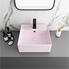 Arezzo 405mm Matt Pink Square Wall Mounted / Counter Top Basin profile small image view 1