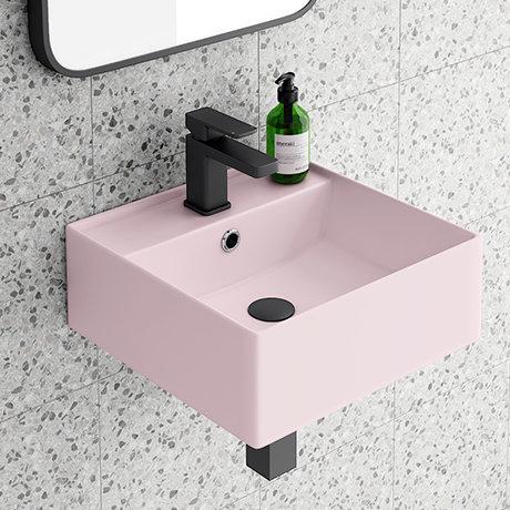 Arezzo 405mm Matt Pink Square Wall Mounted / Counter Top Basin