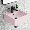 Arezzo 405mm Matt Pink Square Wall Mounted / Counter Top Basin profile small image view 1