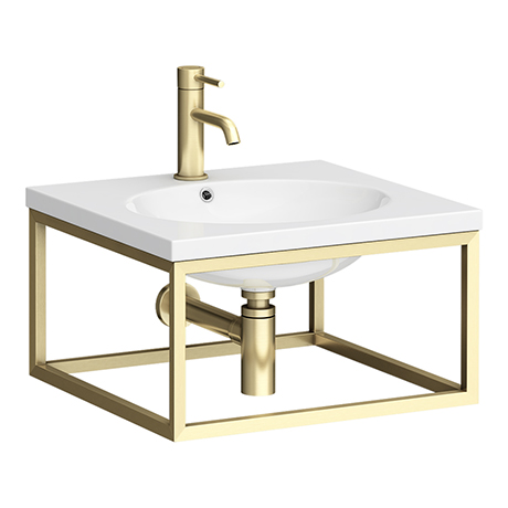 Arezzo 500 Wall Hung Basin with Brushed Brass Towel Rail Frame