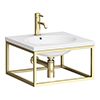 Arezzo 500 Wall Hung Basin with Brushed Brass Towel Rail Frame profile small image view 1