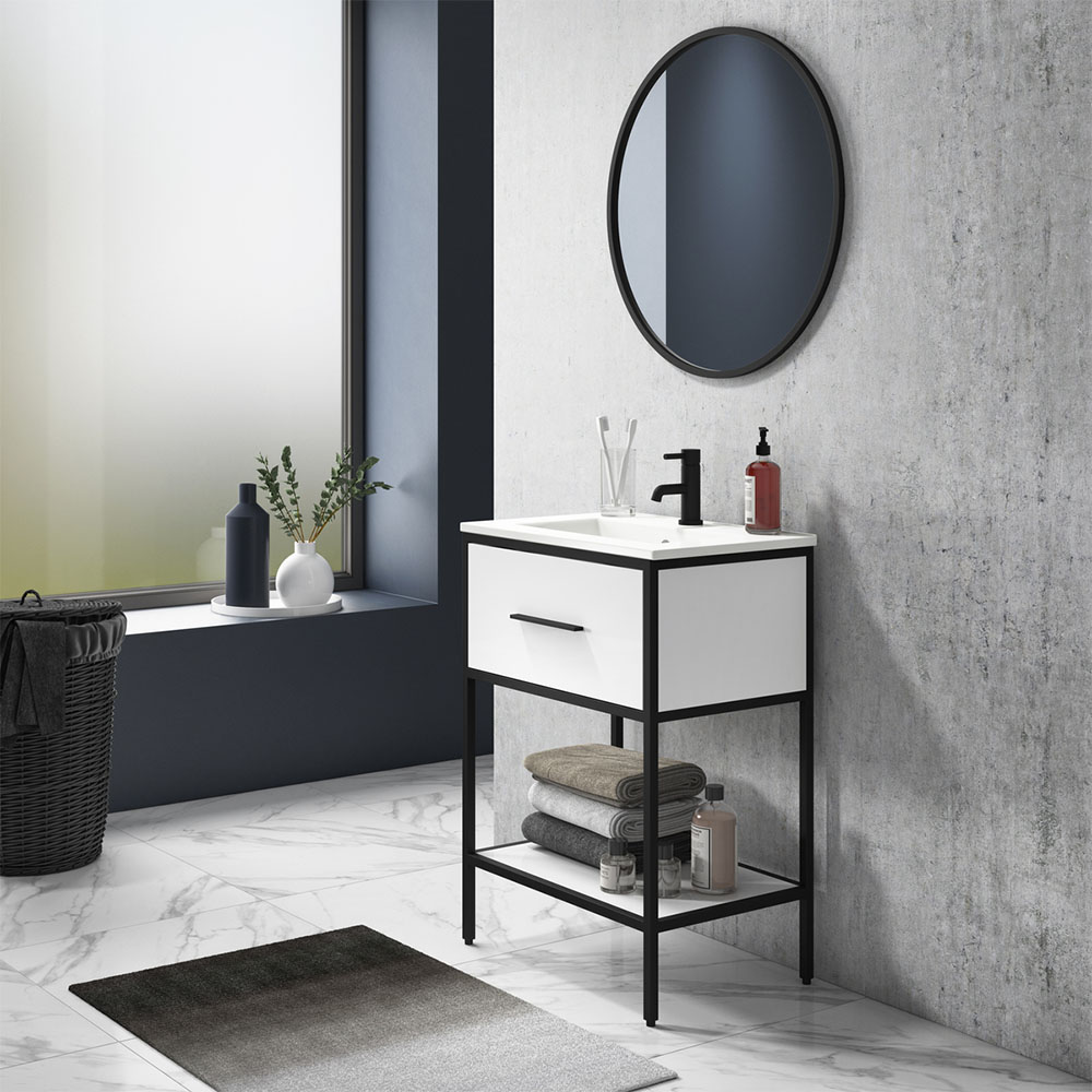 Arezzo 600 Matt Black Framed Vanity Unit with Ceramic Basin and Open Shelf