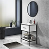 Arezzo 600 Matt Black Framed Vanity Unit with Ceramic Basin and Open Shelf profile small image view 1