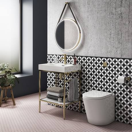 Arezzo 600 Brushed Brass Framed Washstand with Back To Wall Toilet