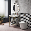 Arezzo 600 Brushed Brass Framed Washstand with Back To Wall Toilet profile small image view 1