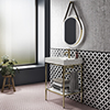 Arezzo 600 Brushed Brass Framed Washstand with Gloss White Open Shelf and Basin profile small image view 1