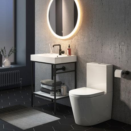 Arezzo 600 Matt Black Framed Washstand with Toilet