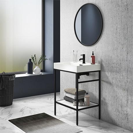 Arezzo 600 Matt Black Framed Washstand with Gloss White Open Shelf and Basin