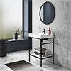 Arezzo 600 Matt Black Framed Washstand with Gloss White Open Shelf and Basin profile small image view 1