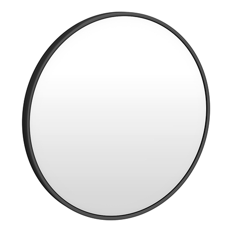 Arezzo Matt Black 600mm Round Mirror