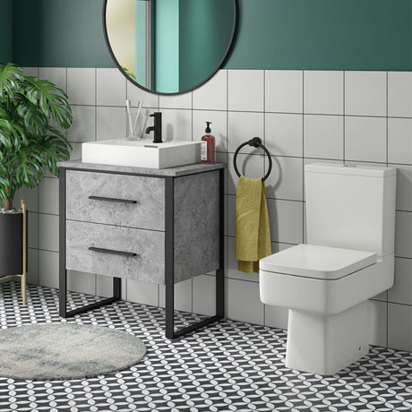 Arezzo 600 Concrete-Effect Matt Black Framed Vanity Unit + Square Toilet