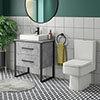 Arezzo 600 Concrete-Effect Matt Black Framed Vanity Unit + Square Toilet profile small image view 1