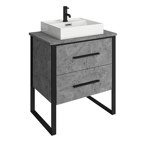 Arezzo 600 Concrete-Effect Matt Black Framed 2 Drawer Vanity Unit with Countertop Basin