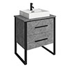 Arezzo 600 Concrete-Effect Matt Black Framed 2 Drawer Vanity Unit with Countertop Basin profile small image view 1