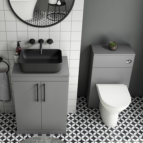 Arezzo 600 Grey Floor Standing Unit with Black Rectangular Counter Top Basin + Toilet Pack