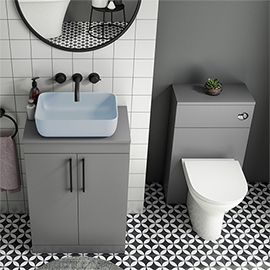 Arezzo 600 Grey Floor Standing Unit with Blue Rectangular Counter Top Basin + Toilet Pack