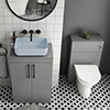 Arezzo 600 Grey Floor Standing Unit with Blue Rectangular Counter Top Basin + Toilet Pack profile small image view 1
