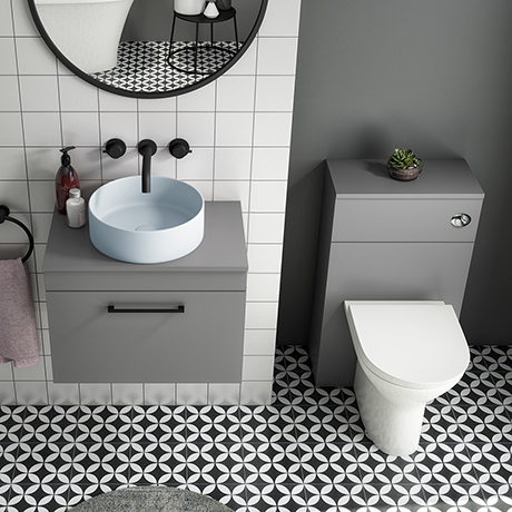 Arezzo 600 Grey Wall Hung Unit with Blue Round Counter Top Basin + Toilet Pack