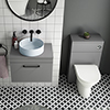 Arezzo 600 Grey Wall Hung Unit with Blue Round Counter Top Basin + Toilet Pack profile small image view 1