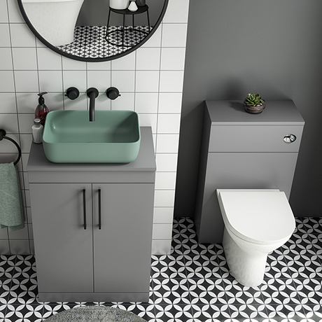 Arezzo 600 Grey Floor Standing Unit with Green Rectangular Counter Top Basin + Toilet Pack