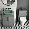 Arezzo 600 Grey Floor Standing Unit with Green Rectangular Counter Top Basin + Toilet Pack profile small image view 1