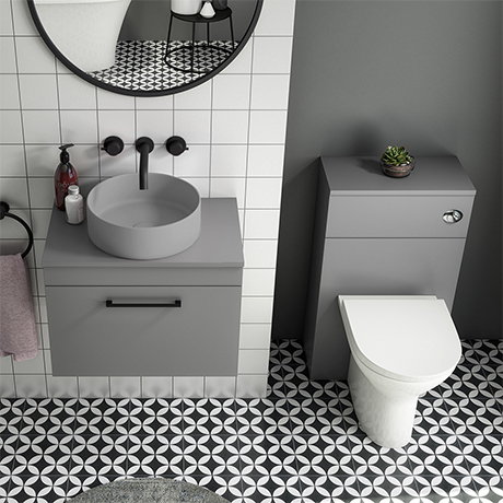 Arezzo 600 Grey Wall Hung Unit with Grey Round Counter Top Basin + Toilet Pack