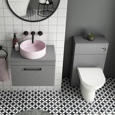 Arezzo 600 Grey Wall Hung Unit with Pink Round Counter Top Basin + Toilet Pack