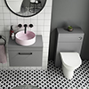 Arezzo 600 Grey Wall Hung Unit with Pink Round Counter Top Basin + Toilet Pack profile small image view 1