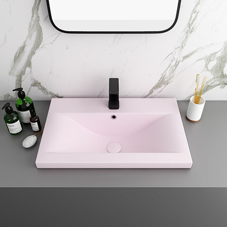 Arezzo 610 x 395mm Matt Pink Rectangular Mid-Edged Inset Basin