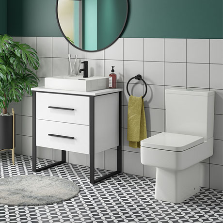 Arezzo 600 Gloss White Matt Black Framed Vanity Unit + Square Toilet