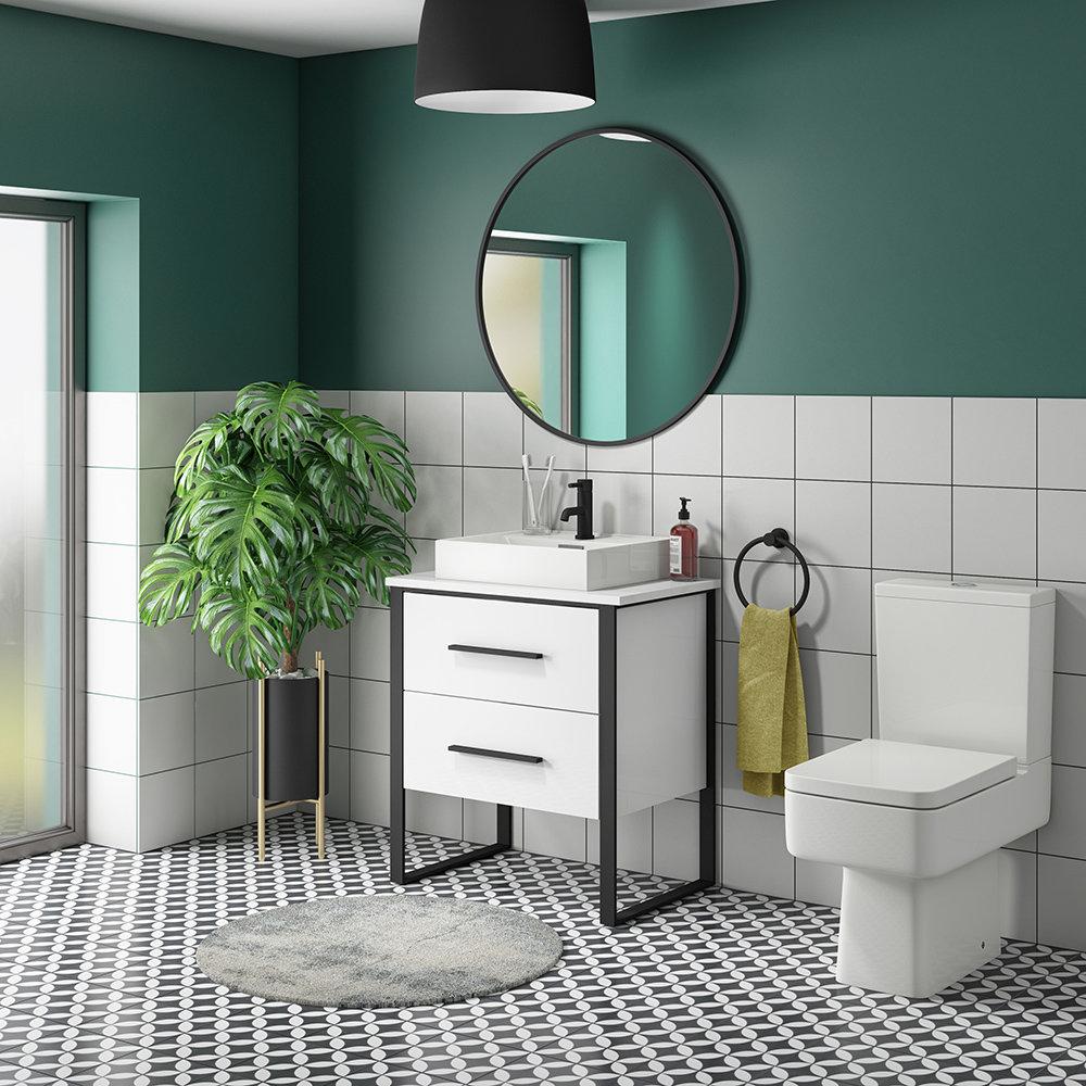 Arezzo 600 Gloss White Matt Black Framed 2 Drawer Vanity Unit with Countertop Basin - Arezzo Bathrooms