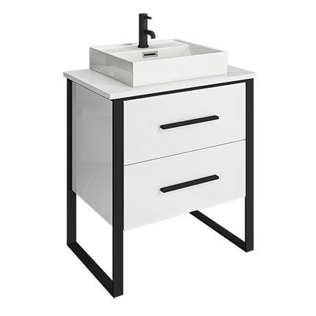 Arezzo 600 Gloss White Matt Black Framed 2 Drawer Vanity Unit with Countertop Basin