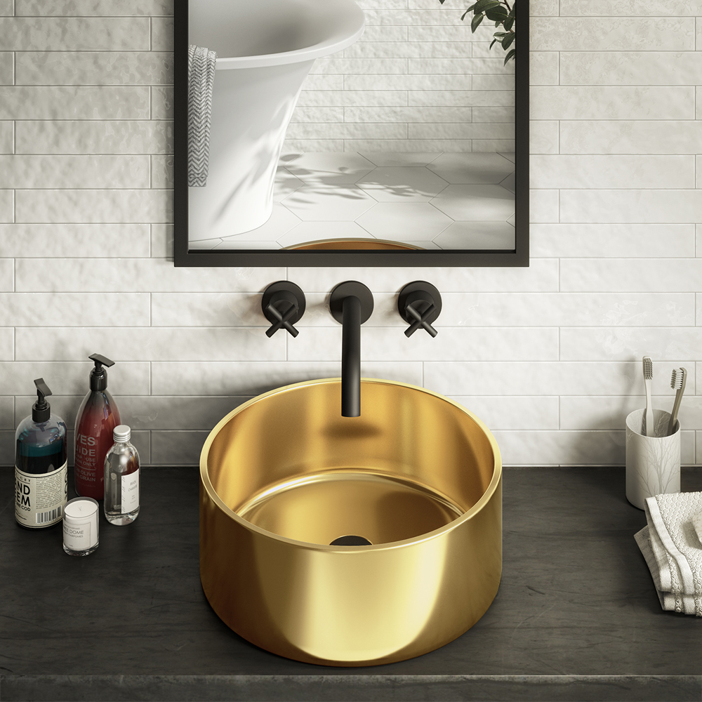 Arezzo Round 405mm Gold Ceramic Counter Top Basin