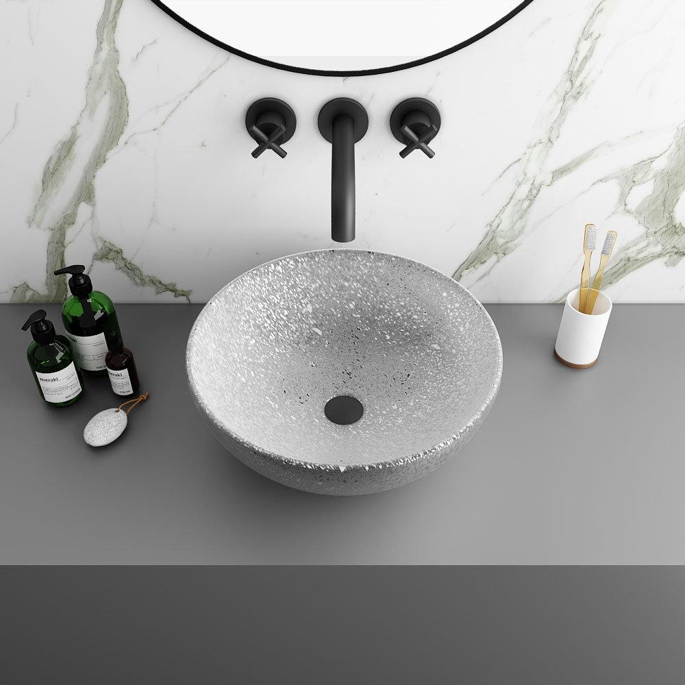 Arezzo Round 410mm Silver Mottled Design Ceramic Counter Top Basin
