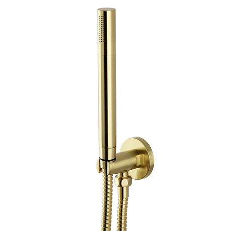 Arezzo Round Brushed Brass Outlet Elbow with Parking Bracket, Flex & Handset