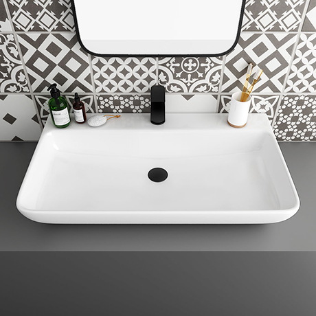 Arezzo 815 x 470mm Modern Large Counter Top 1TH Basin - No Overflow