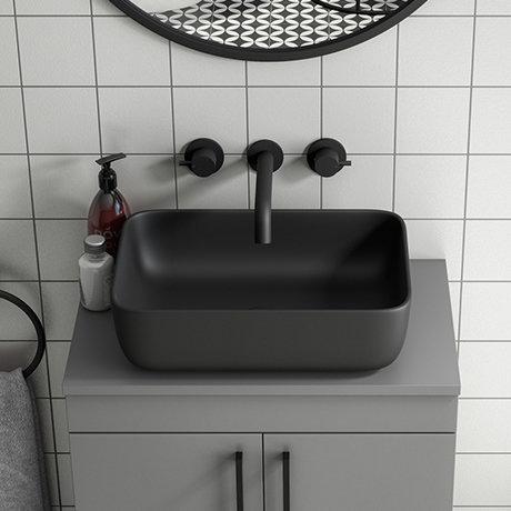 Arezzo 455 x 325mm Matt Black Coloured Curved Rectangular Counter Top Basin