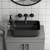 Arezzo 455 x 325mm Matt Black Coloured Curved Rectangular Counter Top Basin profile small image view 1
