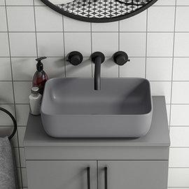 Arezzo 455 x 325mm Matt Grey Curved Rectangular Counter Top Basin