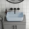 Arezzo 455 x 325mm Matt Blue Curved Rectangular Counter Top Basin profile small image view 1