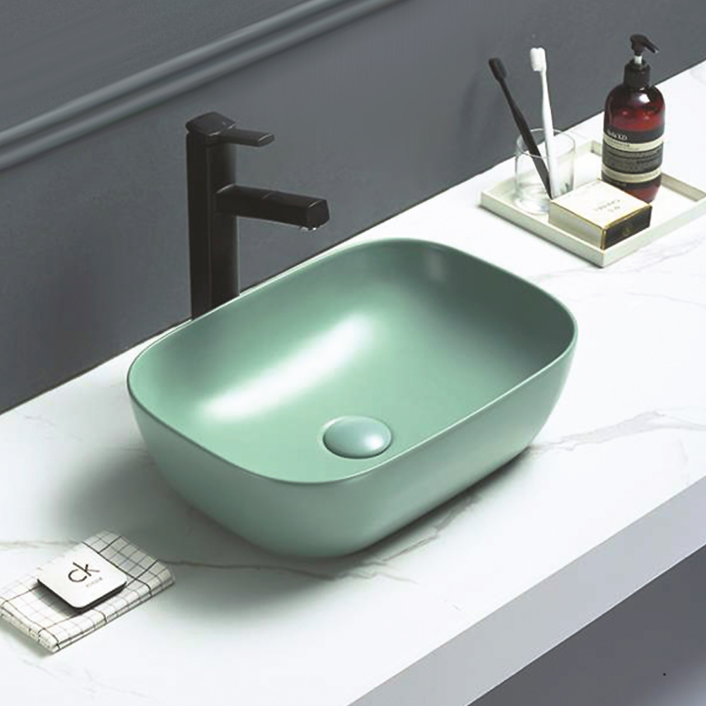 Arezzo 455 x 325mm Matt Green Curved Rectangular Counter Top Basin